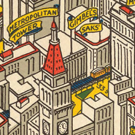 Detail of illustration of birds-eye view of New York City