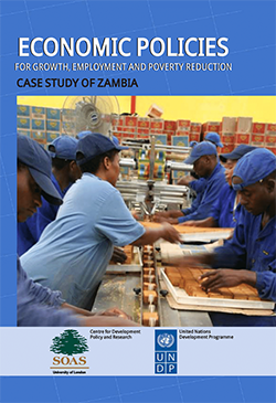 Cover of the book 'Economic Policies for Growth, Employment and Poverty Reduction: case study of Zambia' featuring photograph of factory workers on a production line