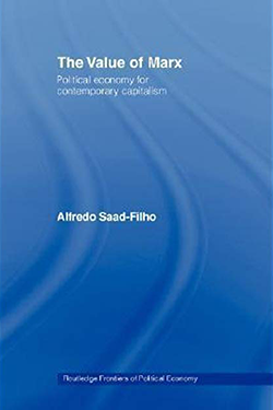 Blue cover of the book 'The Value of Marx' by Alfredo Saad-Filho